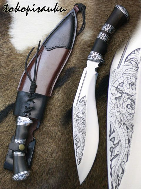 Toko Pisau Ku: Kukri Bhojpuri  Blade Material : Spring Steel, 5160  Handle Material :Iron Wood + Duralium, Sheath Material : Genuine Leather