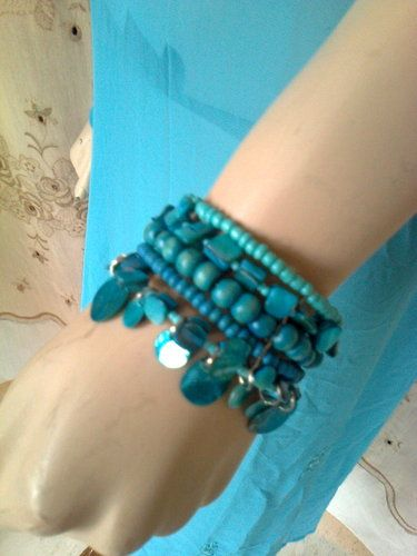 'Blue turquoise handmade bead  bracelet free size' is going up for auction at 12am Fri, Aug 9 with a starting bid of $12.