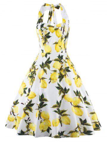 GET $50 NOW   Join RoseGal: Get YOUR $50 NOW!http://www.rosegal.com/vintage-dresses/vintage-halter-neck-lemon-print-645224.html?seid=7596931rg645224