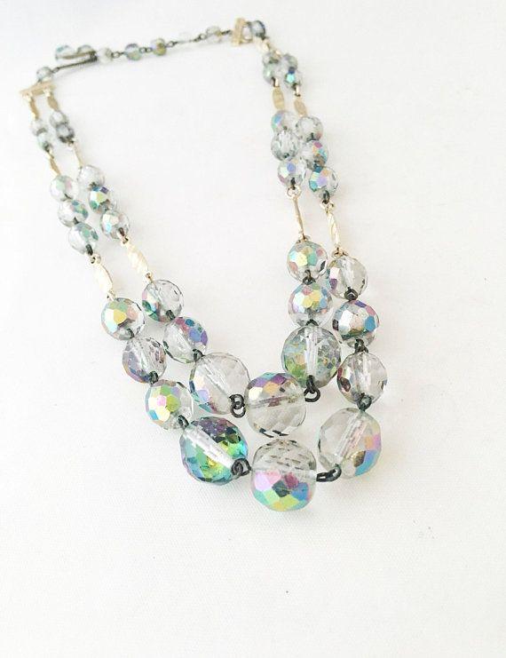 Wedding Jewelry Crystal Aurora Borealis Necklace 18 Inches