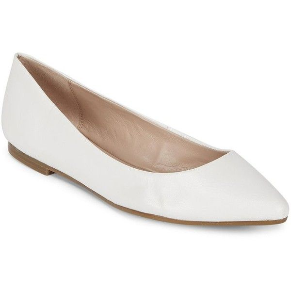 BCBGeneration Millie Leather Flats ($40) ❤ liked on Polyvore featuring shoes, flats, pointed toe flats, leather ballet flats, white leather flats, white flat shoes and ballet pumps