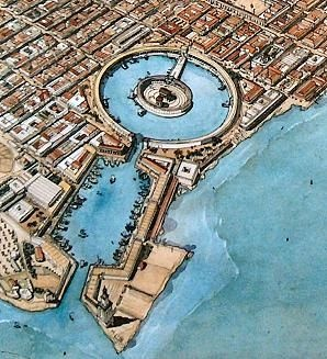 Artist's concept of the dual harbor.
