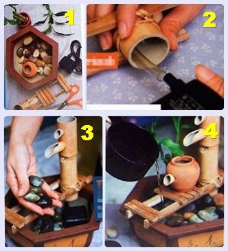 HOMEMADE WATER FOUNTAIN ..... Materials Needed:  Oriental pot with no holes Transparent plastic tube Design fixture made of bamboo Submersible pump Chinese bamboo plant in a small pot Three packs of river stones Small clay jar Tap of soft water Scissors~~
