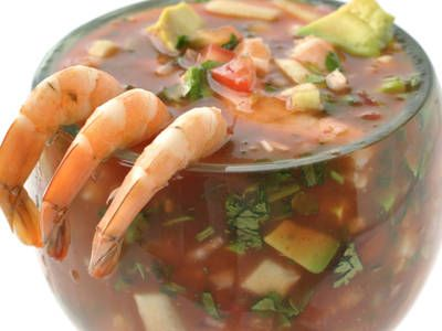 ****Bloody Mary Shrimp Ceviche. Bloody Mary mix, orange juice, ketchup and tabasco.  Shrimp, pico, half seeded cucumber, avocado, cilantro, sliced radishes, red onion, lime.