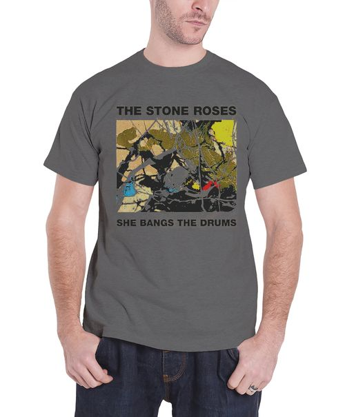 The Stone Roses T Shirt Mens She Bangs The Drums cover new all for one Official Grey