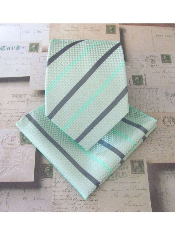 Mint Tie. Necktie Mint Green and Gray Stripes Tie by TieObsessed