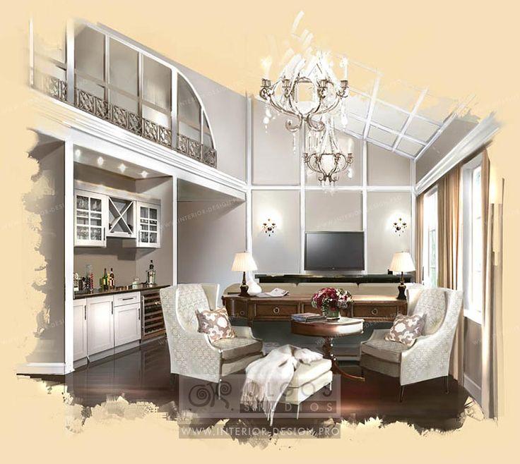 Garret interior design idea http://interior-design.pro/en/house-interior-design