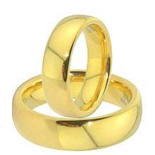 6 milímetros de ouro clássico de cor de aço de titânio anéis de casamento de noivado conjuntos para homens e mulheres aliança anel de ouro casamento (China (continente))