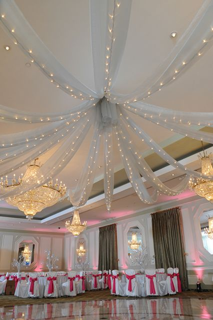 Silver Organza Draping with Lights Ceiling Decor