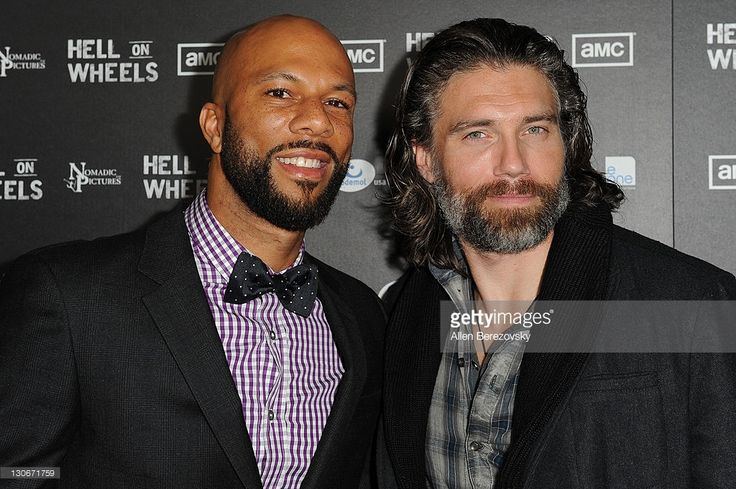 Actor/rapper Common (L) and actor Anson Mount arrive at the AMC's 'Hell On Wheels' Los Angeles premiere at L.A. LIVE on October 27, 2011 in Los Angeles, California.