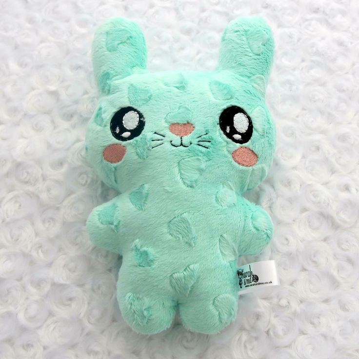 mint green hearts love bunny soft toy, plushie, ITH toy