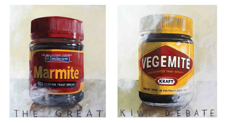 "Kiwiana artist Matt Guild wades into the ""Great Kiwi Debate"", Vegemite vs Marmite. Signed open edition print $49.95"