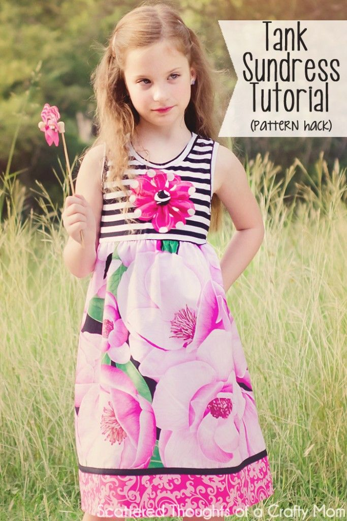 Tank top sundress tutorial with free pattern for girls. Includes link to tank top pattern and tutorial.