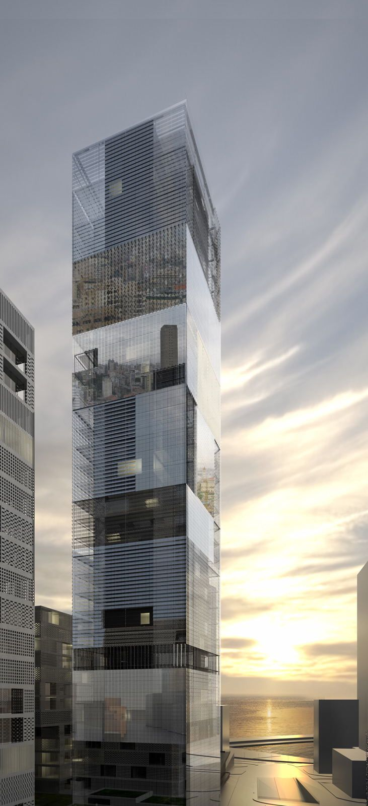 reflection transparency // glass  Tower 486 Mina El Hosn LAN Architecture plusMOOD