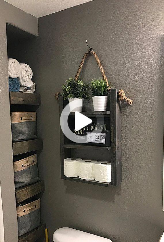 Agriturismo Bagno Hanging Scala Di Corda Shelf Moderno Farmhouse Piu Servizi Igienici Bagagli In 2020 Toilet Storage Over Toilet Storage Farmhouse Bathroom