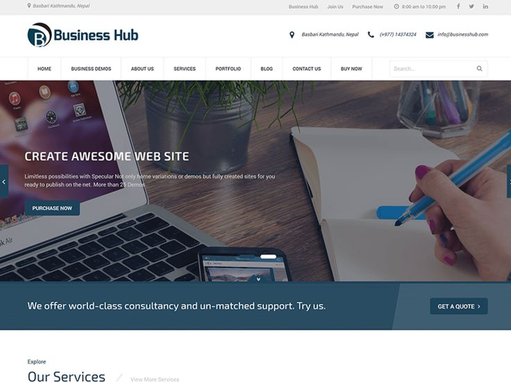 Business Hub — Rigorous Themes