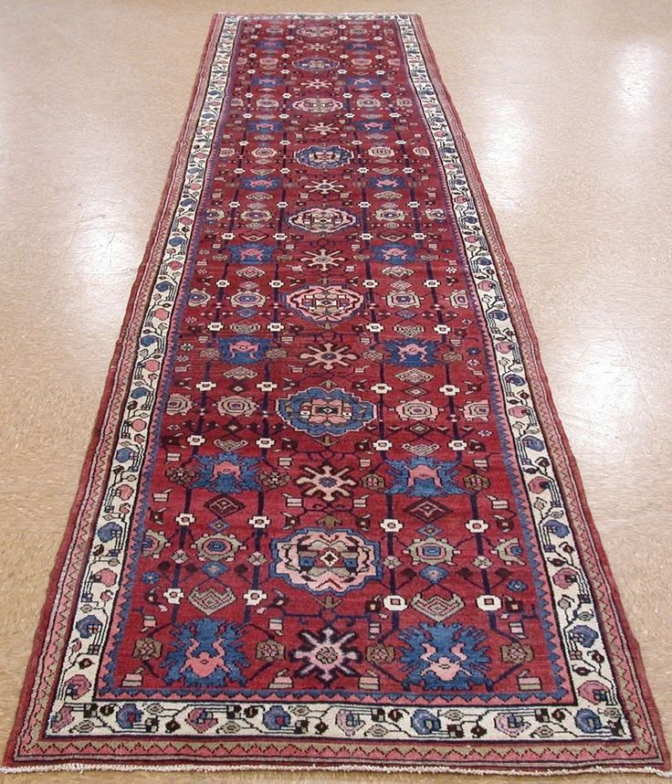 4 x 17 PERSIAN MALAYER Tribal Hand Knotted Wool Rust Blues Runner Oriental Rug