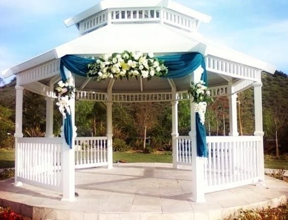 Would love to have a small wedding inside of a decorated gazebo with all the wedding guests surrounding me and the groom!