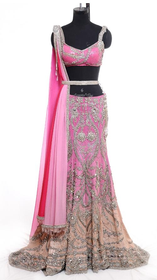 Fine Embroidered Pink Lehenga | Strandofsilk.com - Indian Designers
