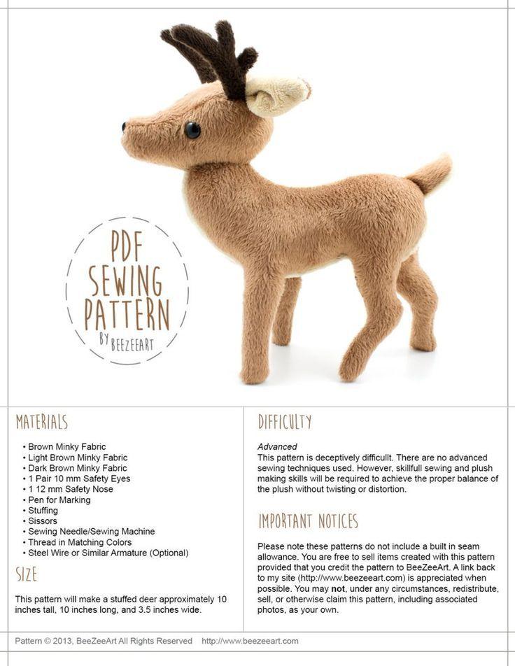 Deer Stuffed Animal Sewing Pattern – Digital Download