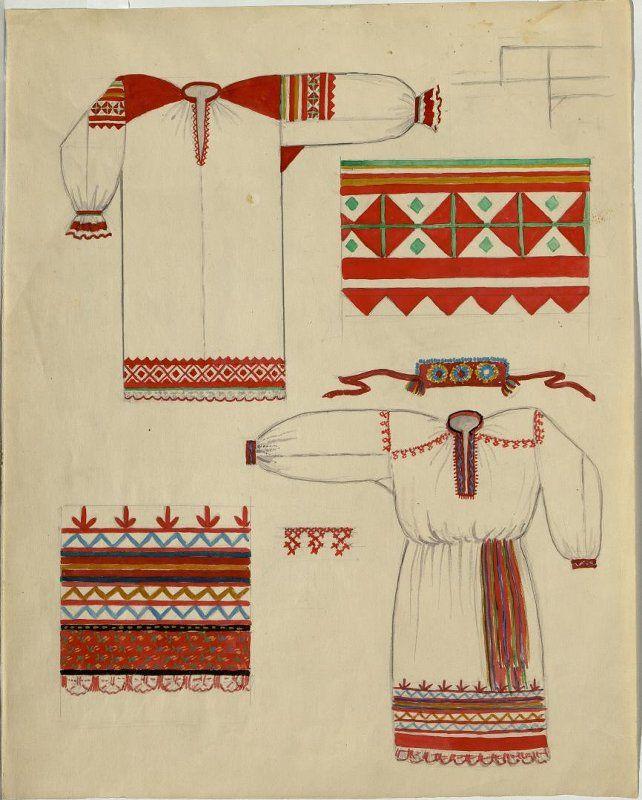 Рисунок Работновой И.П. с изображением образцов кроя и вышивки на женских рубахах.