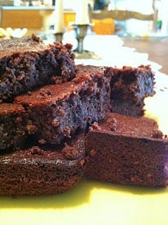 Almond Flour Brownies  _______________________________    2/3 cup honey  1/2 cup melted butter or coconut oil  1 Tbsp. vanilla extract  3 eggs  1 cup almond flour  1/2 cup cocoa (I used raw cacao)  1/4 tsp. baking soda (this can be omitted)  1/4 tsp. sea salt (omit if using salted butter)