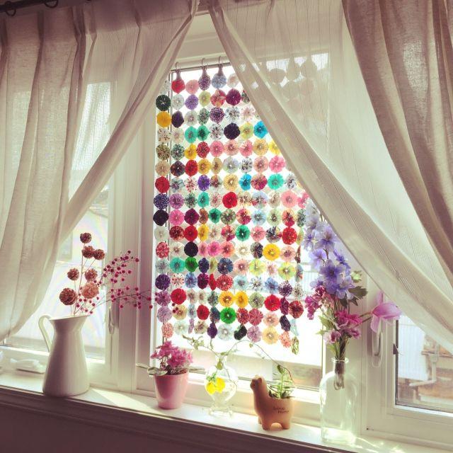 junさんの、ハンドメイド,観葉植物,IKEA,子供部屋,ドライフラワー,ニトリ,ヨーヨーキルト,窓,カーテン,ベッド周り,のお部屋写真