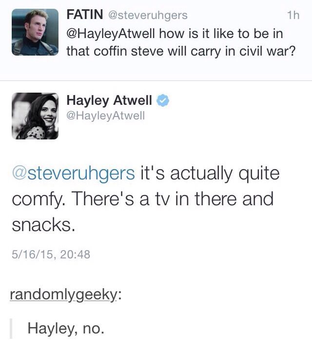 Hayley, stop. Shoot. That's gotta be one of the opening scenes then. :,(