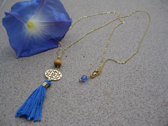 Mykonos long gold blue necklace blue tassel pendant by Planeteer