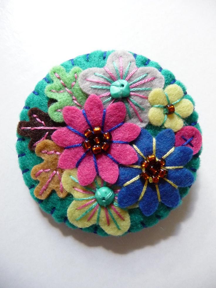 ES755/094 - Japanese Art Inspired Handmade Mini Felt Brooch - Petrol Blue - Made to order. £12.50, via Etsy.