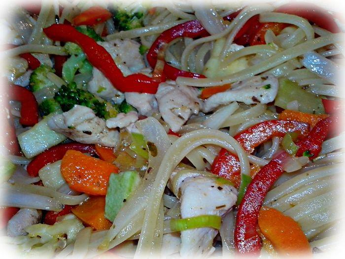 Tallarines con Pollo y Vegetales - Cocina con los Rolo