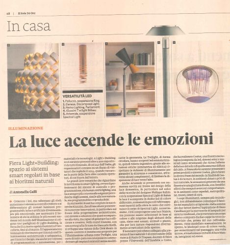 #ring, the new lamp by Pallucco on Il Sole 24 ORE #press #palluccopress Light+Building