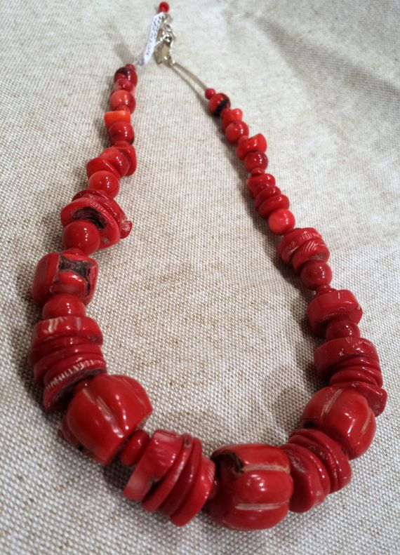 Single Strand Natural Red Coral Necklace Red Coral