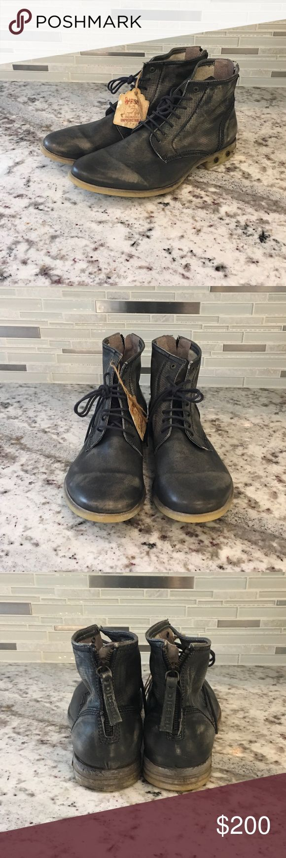 Mens Diesel Boots NEVER WORN!!! Garment-Dyed Mature leather with an elegant vintage-effect stitching. Diesel Shoes Boots