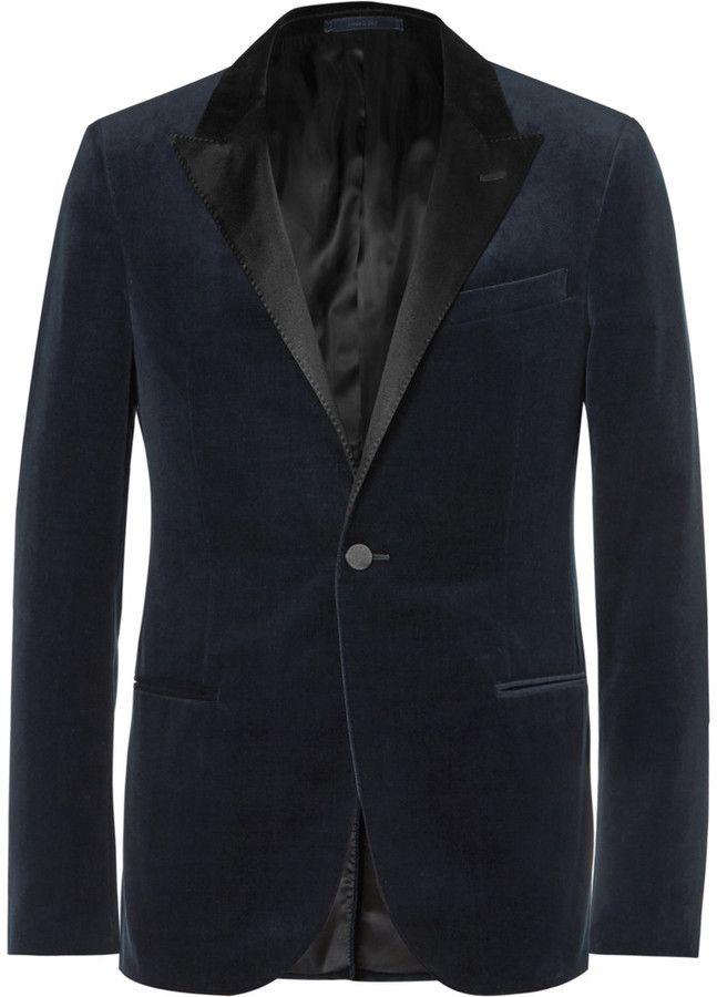 Lanvin Navy Slim-Fit Satin-Trimmed Cotton-Velvet Tuxedo Jacket