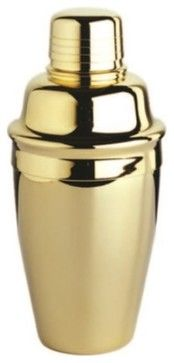 Gold-Plated Tavern-Style Cocktail Shaker, 3-Piece Set - industrial - Cocktail Shakers And Bar Tool Sets - StealStreet