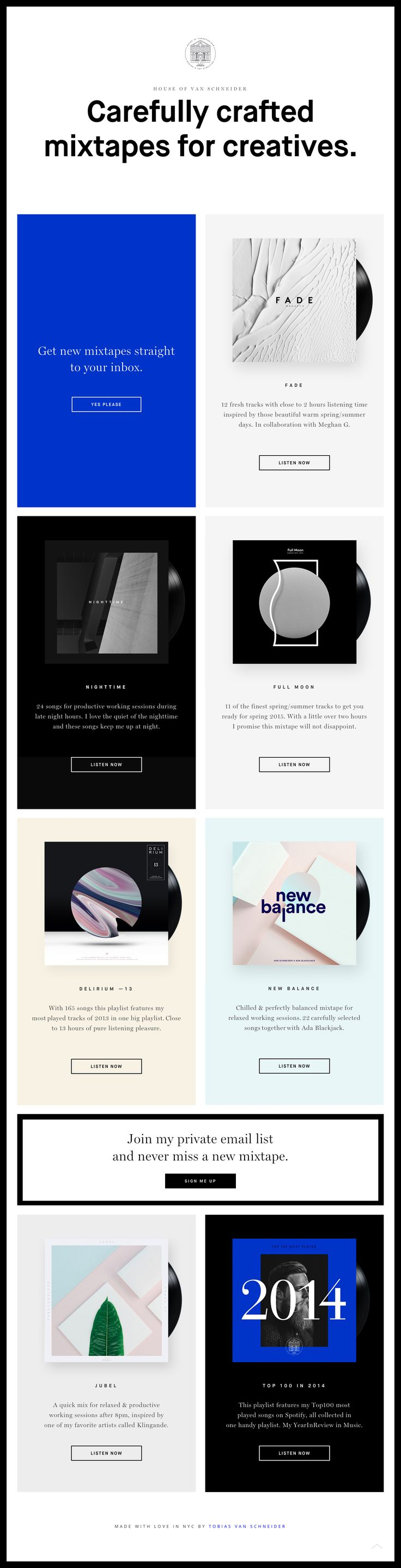 Clean responsive One Pager showcasing a collection of curated mixtapes by Spotify lead designer, Tobias van Schneider.