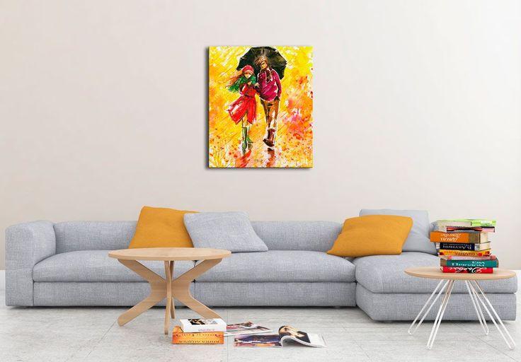 Walking in the rain - Canvas