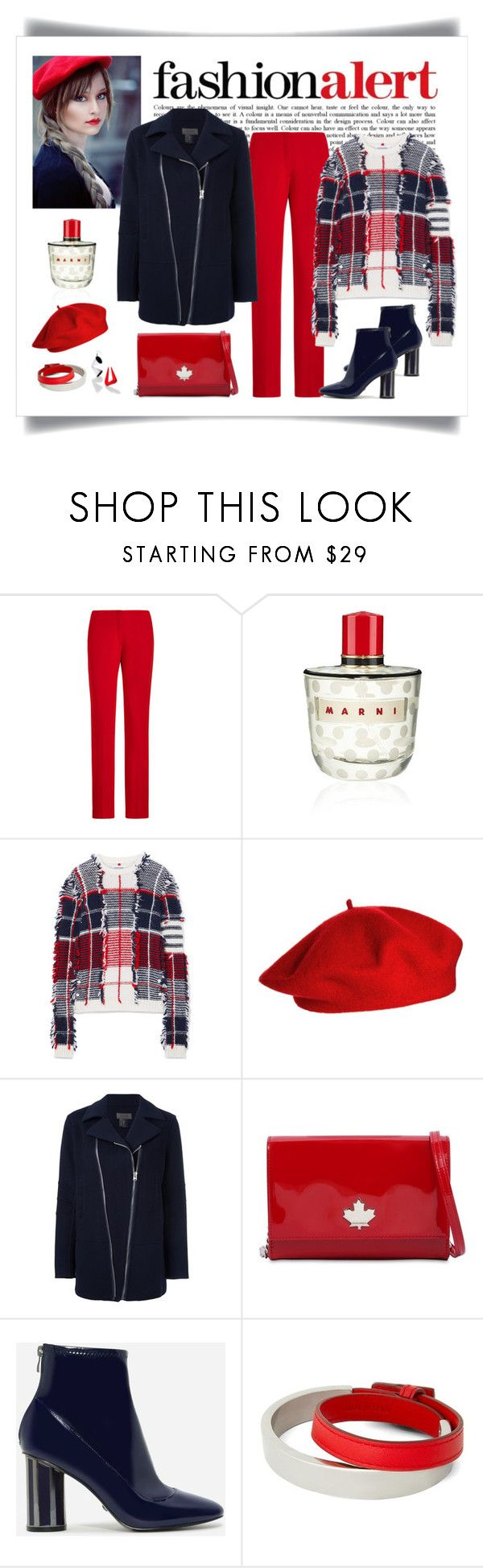 """""""Thom Browne Plaid Frayed Intarsia Sweater Look"""" by romaboots-1 ❤ liked on Polyvore featuring Ralph Lauren, Marni, Thom Browne, ASOS, TonyCohen, Dsquared2, CHARLES & KEITH, Loewe and STELLA McCARTNEY"""