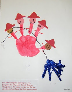 fireman handprint and poem