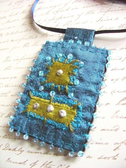 Fabric Necklace, Pendant, Textile Jewelry, by The7thMagpie on Etsy