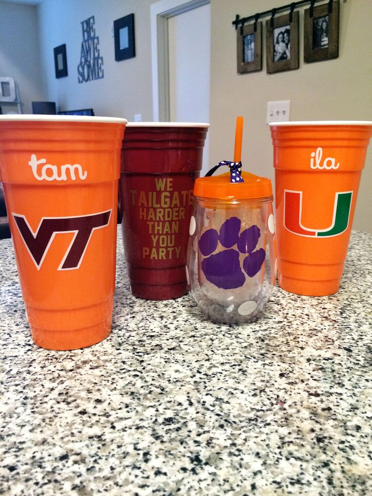 College football crafts :) oversized solo cups and wine tumblers for tailgating! #littleshoppeofcheer #VT #Clemson #FSU #Miami