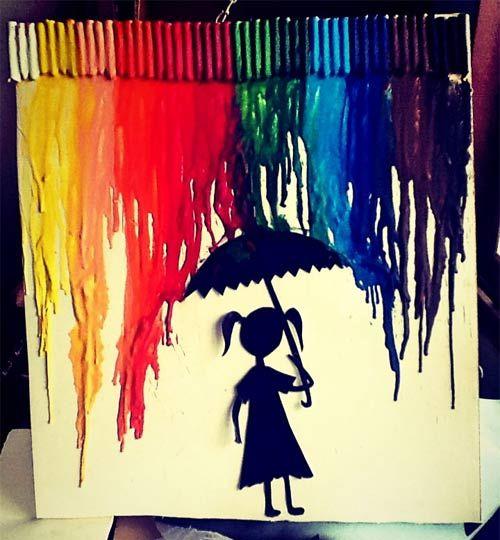 Aprenda como fazer um quadro decorativo usando giz de cera escolar. Que tal usar uma tela diferente para decorar seu ambiente?