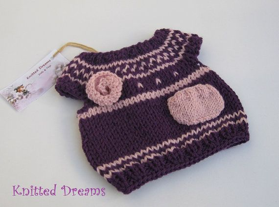 Waldorf  Dolls Clothes Hand Knit Lavender Tunic  by tatocka, $32.00