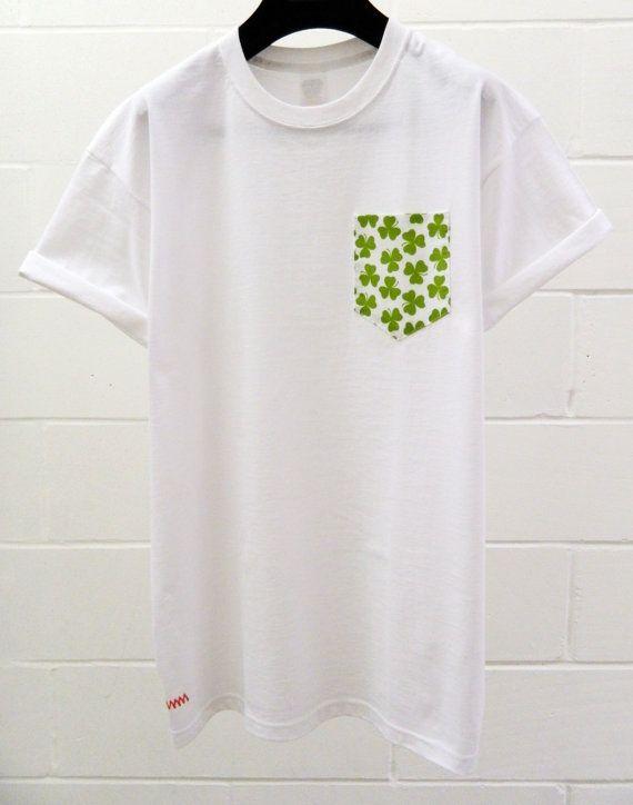 Men's Irish Shamrock Pattern White Pocket by HeartLabelTees