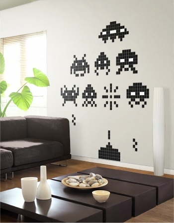 Space Invader Wall Stickers - so want some!  Just recreate with cut pieces of painters tape!