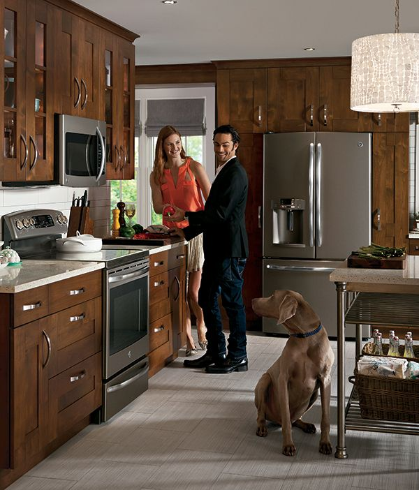 Ge SLATE appliances. Love this color. More earthy tones than stainless but with NO fingerprints. I think it looks great in a more rustic kitchen.