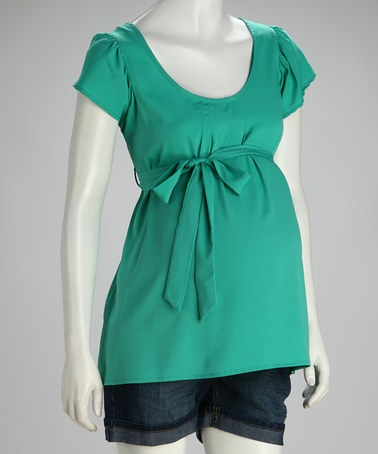 Take a look at this Jade Belted Maternity Short-Sleeve Top by Oh! Mamma on #zulily today! $14.99