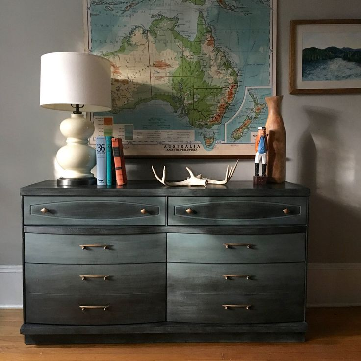 Ombre Waxed Dresser by A Simpler Design with Chalk Paint® by Annie Sloan in Graphite and both Clear and Black Chalk Paint® Wax
