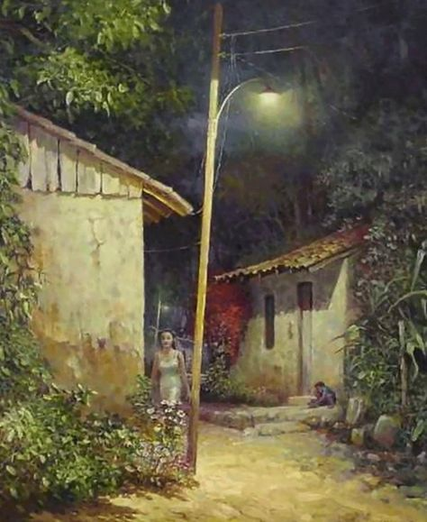 Cuadros Modernos Pinturas : Paisajes al óleo de pueblos